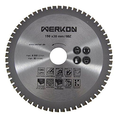 Preisvergleich Produktbild WERKON Profi Multisägeblatt Universalsägeblatt Kreissägeblatt 190 x 30 mm 60Z