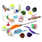 Cat Toy Set - 20PCS Kitten Toys for Indoor Cats Cat Catnip Toys Cat Balls Cat Feathers Wand Toys Special Christmas gift for Kitty and Cats (20PCS Kitten Toys)