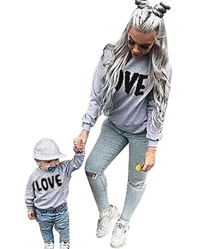Baby Love Buchstabe Druck Sweatshirt Winter Rundhals Langarm Pullover Damen Tops Bluse Familie Bekleidung Grau + Schwarz 80 (Kind) (Valentine Paar Outfits)