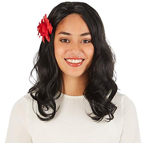 rücke Spanierin | Schönes, gewelltes Haar | Inkl. Rosenhaarklammer (Sexy Piraten Haar)
