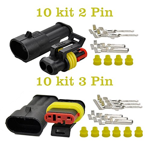 OxoxO 2+3 Pin Way 20-16 AWG Waterproof Electrical Connector, yellow Seal Insert 1.5mm Series Terminals Heat Shrink Quick Locking Wire Harness Sockets 4 Awg Amp Kit