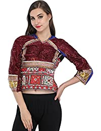 Exotic India Chocolate Brown Backless Choli From Kutch With Antiquated R - Brown