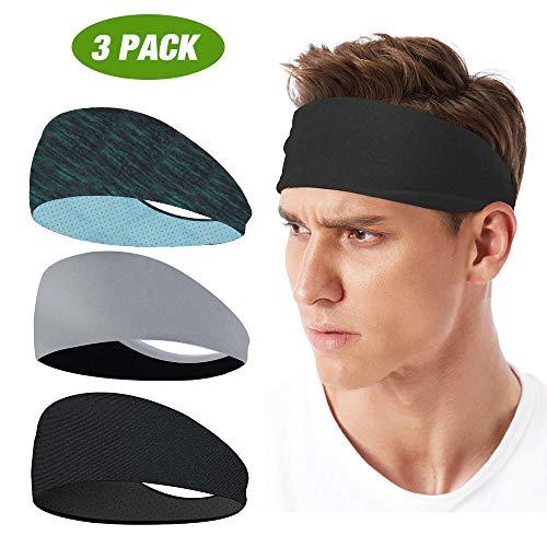 LATTCURE Sport Stirnband, Stirnband 3 Pack, Schweißband, Stirnband Anti Rutsch, für Jogging, Laufen, Wandern, Fahrrad- und Motorrad Fahren (Farbe4)