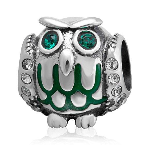 Wise owl charm con smalto verde crystal eye 925sterling silver animal beads adatto per braccialetti stile europeo