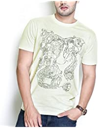 The Glu Affair Men's Cotton Marshmallow Yellow Round Neck T-shirt