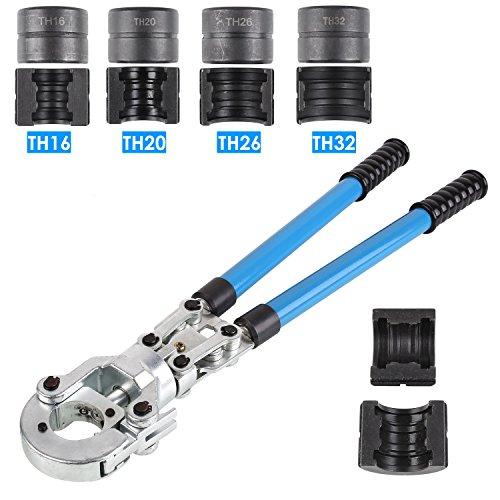 FIXKIT Presszange TH Kontur Rohrpresszange mit 16mm-20mm-25mm-32mm Pressbacken für PEX Rohr, Verbundrohr (TH-Kontur)