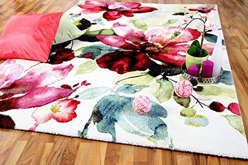 Blumen Teppich (Designer Teppich Brilliant Rosa Pink Blumen in 3 Größen)