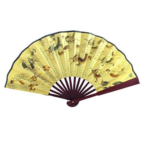 Bamboe handvat Dragon Chinese Gedicht Print vouwen de hand ventilator 47cm breedte