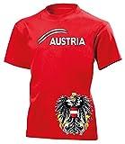 Österreich Austria Fan t Shirt Artikel 5084 Fuss Ball Kinder Kids Jungen Mädchen Unisex EM 2020 WM 2022 Trikot Look Flagge World Cup Jersey 128