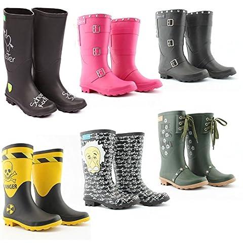 Kinder Gummistiefel - viele Varianten Gr. 32-38 - Mädchen & Jungen Regenstiefel Mädchen Jungen Stiefel Mooi en Lief (38, Schwarz mit