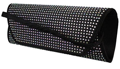 Elegante borsa da donna / Clutch / Borsa da sposa / Borsetta da sera con strass in vari colori antracite, navy, rosa, rosso, nero o grigio argentato Nero