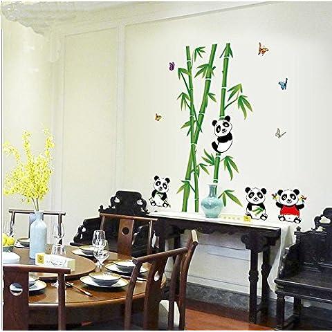 ufengke® Bambú Verde de La Panda Linda Mariposa Colorida Pegatinas de Pared, Sala de Estar Dormitorio Removible Etiquetas de La Pared /