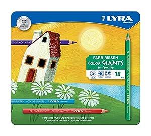 LYRA 3941181 Color-Giants - Caja metálica con 18 lápices de colores de tamaño grande Importado de Alemania