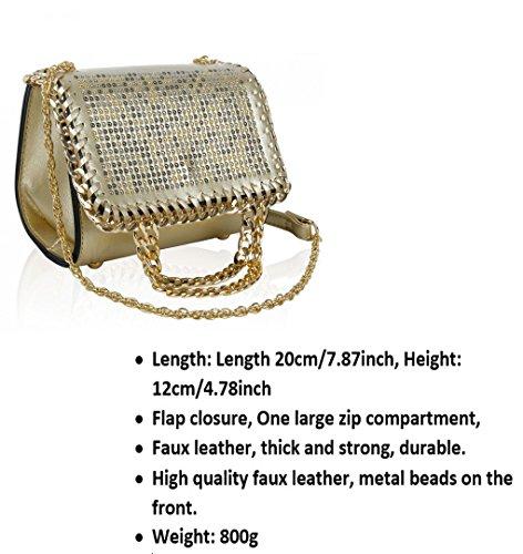 LeahWard® Damen Mode Kunstleder Kette Schulter Kreuzkörper HandTaschen Beaded Hochzeit Bridal Handtaschen 150954 Indigo Umhängetasche