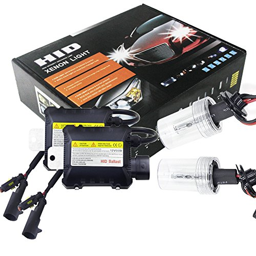 Ocamo 55W H7 HID Xenon Headlight Bulbs Conversion KIT 3000-12000K for Car Bulbs x 2 and Ballasts x 2 6000 K