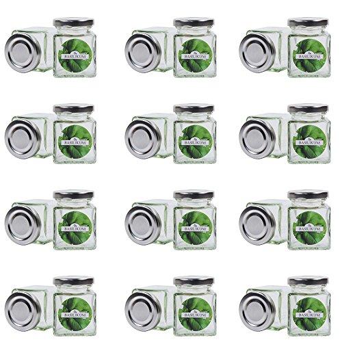 24 kleine Gewürzgläser 106 ml inkl. 24 Gewürzetiketten/Deckelfarbe Silber