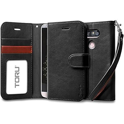 Funda LG G5, TORU [PRESTIZIO] Funda cartera para LG G5 [Almacenamiento de tarjetas y carnés][Soporte][Correa] para LG G5 - Negro