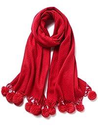 Sumferkyh Morbido Womens Red 100% Lana Inverno Sciarpe Calde avvolge Rosso  Capelli Lampadina Nappa Scialle b8f16f652677