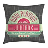 MeiMei2 Jukebox Kissenbezug, Anthrazitgrau, Hintergrund der 50er Jahre inspirierten Radio-Spieluhrenbild, dekorative quadratische Akzent-Kissenbezug, 45,7 x 45,7 cm, Minzgrün/Hot Pink/Weiß