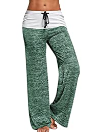 Pantalon avec Cordon Femme Baggy Loose Hip Hop Danse Sport Yoga Pantalon  Jambe Large Taille Haute 363d665e4d0