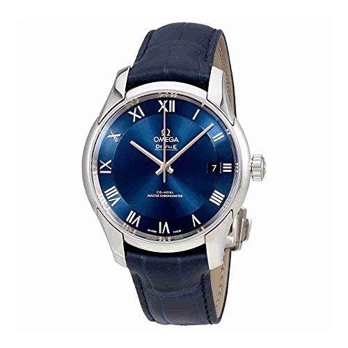 Omega De Ville 43313412103001 - Orologio automatico da uomo in pelle con quadrante blu