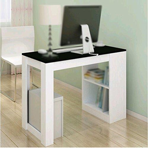 DFHHG® Estantería, Biblioteca Combinada Escritorio De Ordenador Blanco Y Negro Electrodomésticos De Oficina durable