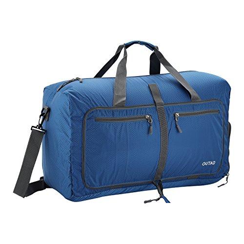 OUTAD Reisetasche - faltbare, 50l große Reisetasche ist beständig, packbar, SUPERLEICHTE 410g - lässt sich in sich falten - am besten als Gepäck oder Sporttasche (Blau) (Leder Gepäck Luxus)