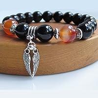 Mens Angel Wing Armband mit schwarzem Onyx und Carnelian