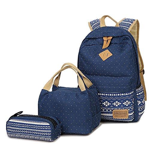 Neuleben Schulrucksack + Kühltasche + Mäppchen Schultaschen 3 Set aus Canvas für Jungen Mädchen Schule Freizeit (Blau)