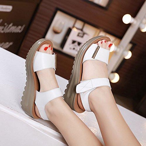 DGSA Leder Sandalen weiblichen Sommer Hang mit Dicken mit dicken Kuchen Schuhe Casual Fisch tipp Frauen Schuhe Weiß
