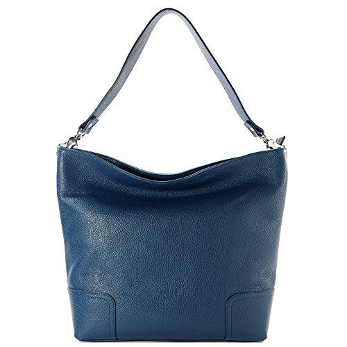 Sabrina ZN.011 - Damen Tasche aus echtem Leder - 100% Made in Italy Florenz - Abmessungen: 30-40x30x12 cm (LxHxL) - EdgeModaStyle (Leder Sabrina)