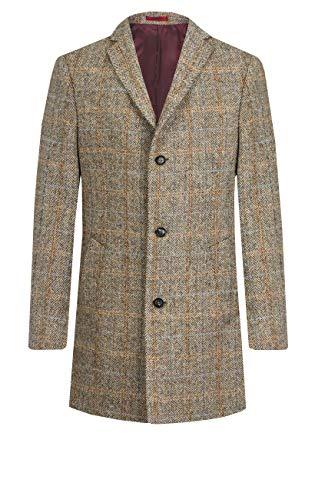 Harris Tweed Herren Mantel Braun Großes Karo-L Tweed Mantel