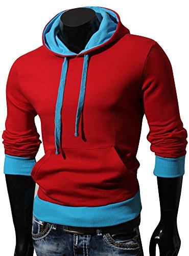 VAN pull à capuche à capuche pour homme hILL taille s à xXL Rouge - Rouge/bleu