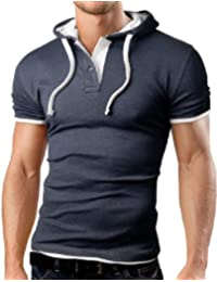 Grin&Bear Polo Tee Shirt T-Shirt à capuche, manche courte, plusieurs couleurs, GB105