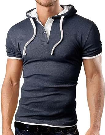 Grin&Bear Polo Tee Shirt T-Shirt à capuche, manche courte, gris foncé, S