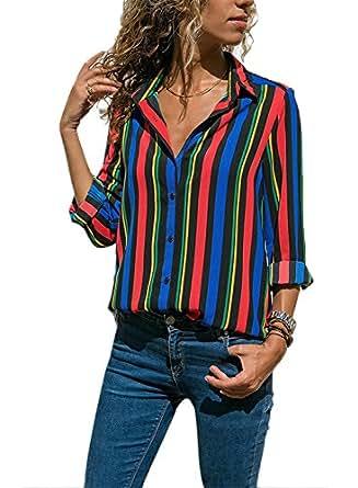 cdaa2499cd187b FIYOTE Oberteile Damen Hemden Button-Down Streifen Langarm Hemdbluse Casual  und Schlank Blusen 5 Farbe S/M/L/XL/XXL: Amazon.de: Bekleidung