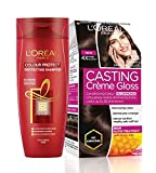 #7: L'Oreal Paris Casting Creme Gloss Hair Color, Dark Chocolate 323, 87.5g+72ml with Free Color Protect Shampoo, 175ml