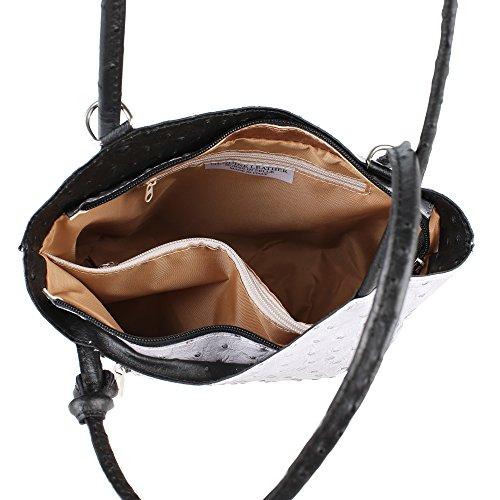 Borsa a Spalla da Donna Stampa Struzzo in Vera Pelle Made in Italy Chicca Borse 28x30x9 Cm Grigio - Nero