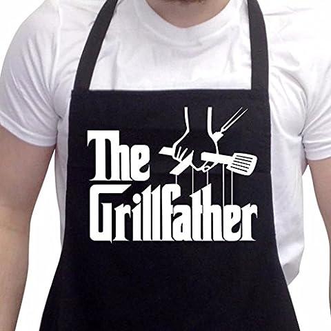 Divertido delantal para barbacoas. Novedad en regalos para hombres, delantal para barbacoas The Grillfather en negro, talla única