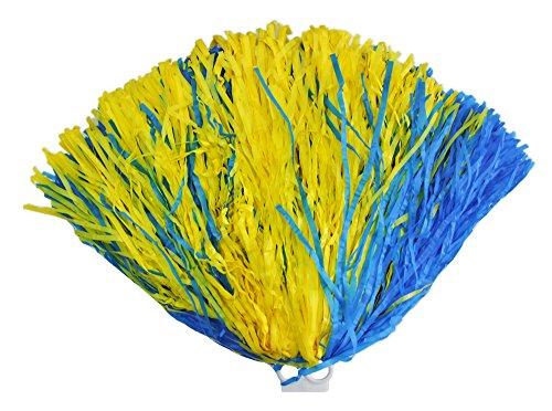 Cheerleader Pompon mit Ringgriff 1 Stück Blau Gelb - Toll zum Kostüm für Sportveranstaltungen, Fasching und (Gelbe Cheerleader Blau Kostüm)