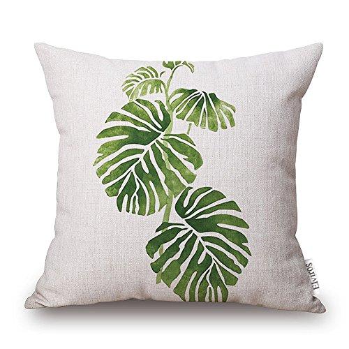 Elviros Dekorativ Baumwoll Leinen Mix Kissenbezug 45 x 52cm - Tropische Blätter