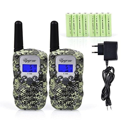 Upgrow RT-388 Walkie Talkie für Kinder Funkgerät mit Akkus Aufladbar Kinder Funkgerät Funk Handy, 8 Kanäle mit LCD-Display, Reichweite 3Km (Tarnfarbe)
