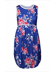 Cuello redondo sin mangas con dobladillo asimétrico vestidos estampados florales,L,Azul marino