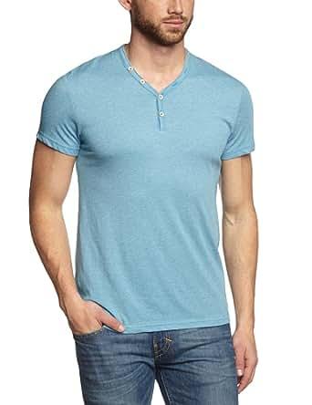 Esprit Men's 054CC2K018 Button Front Short Sleeve T-Shirt, Tech Blue, X-Small