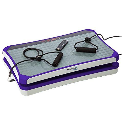 skandika 900 Vibration Plate,SF-1741, designstarke Vibrationsplatte mit starkem 200 Watt DC Motor 18 Geschwindigkeitsstufen, mit LC Bildschirm, Fernbedienung und verstellbaren Trainingsgurten, lila