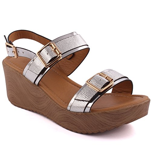 Unze Neue Frauen Goldberg 'Wedge Sommer Sandale Abend Strand Party Holen Sie sich zusammen Schule Karneval Abend Casual Flat Hausschuhe Schuhe UK Größe 3-8 - 2B69098A-506 Silber