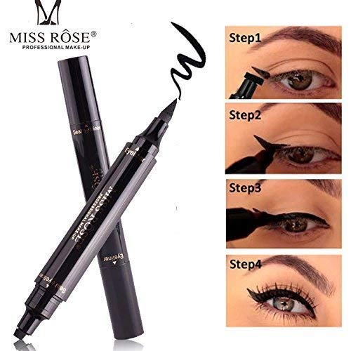 HANNEA Miss Rose Dual Eyeliner Pen And Winged Stamp, Black.