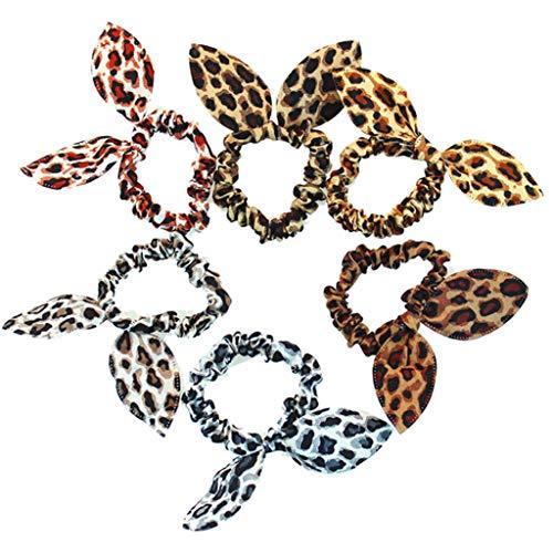 Senoow - elastico per capelli da donna e ragazza, stampa colorata, con orecchie di coniglio, fiocco, a pois leopardati, colore casuale e acciaio inossidabile, colore: f, cod. szzxbgfhbfb8522