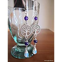 Tree of life earrings, opalite earrings, celtic pagan, silver plate, handmade
