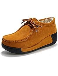 3d8317bd20c9b JRenok Femme Boots de Neige Courtes d Hiver Chaude en Fourrure Chaussures  Creepers a Talon